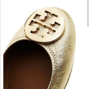 NWT Tory Burch Minnie Travel Ballet Flats in Gold